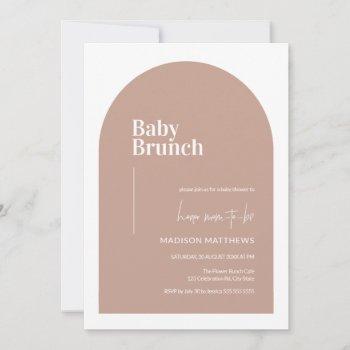 dusty pink minimal arch baby brunch baby shower  invitation