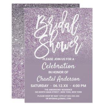 dusty purple gray faux glitter ombre bridal shower invitation