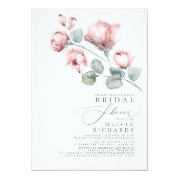 Dusty Rose Floral Elegant Minimal Bridal Shower Invitation Front View