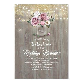 dusty rose floral mason jar rustic bridal shower invitation