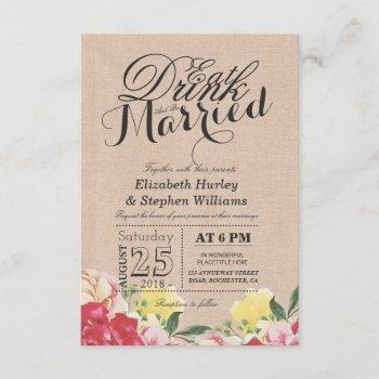 eat drink and be married chic linen floral wedding invitation