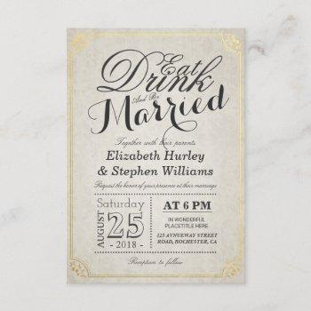 eat drink and be married damask paper gold border invitation