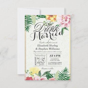 eat drink and be married elegant vintage floral invitation