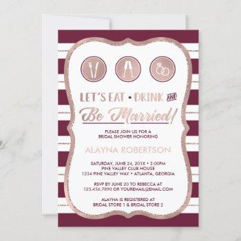 eat drink and be married invitation, faux gold invitation
