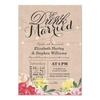 eat drink and be married string light linen floral invitation
