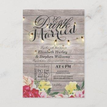 eat drink and be married string light rustic wood invitation