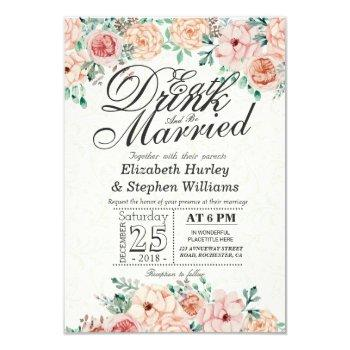 eat drink and be married winter wedding invitation