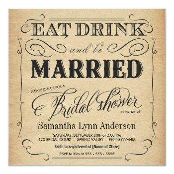 eat drink be married bridal shower invitations