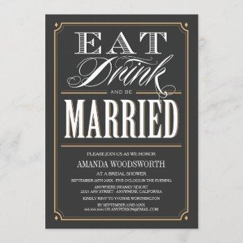eat drink & be married bridal shower invitations