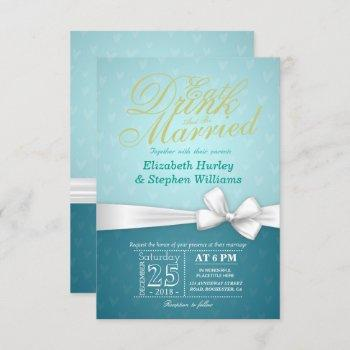 eat drink be married wedding invitation turquoise