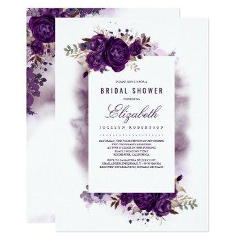 eggplant purple floral watercolor bridal shower invitation