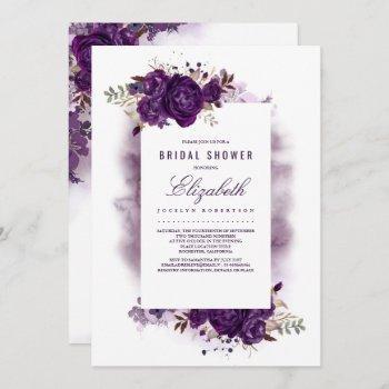 eggplant purple floral watercolor bridal shower invitation