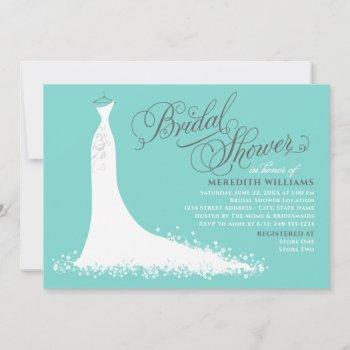 elegant aqua blue wedding gown bridal shower invitation