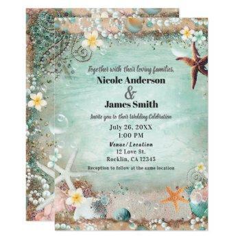 elegant beach sea starfish & pearls wedding photo invitation