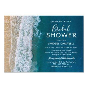 elegant beach tropical ocean bridal shower invitation