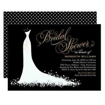 elegant black and gold wedding gown bridal shower invitation