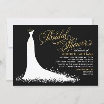 elegant black and gold wedding gown bridal shower invitation