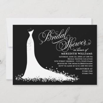 elegant black and white wedding gown bridal shower invitation