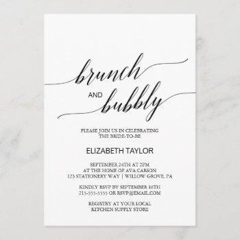 elegant black calligraphy brunch and bubbly invitation