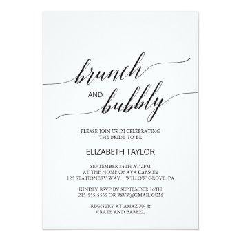 elegant black calligraphy brunch and bubbly invitation