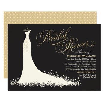 elegant black champagne wedding gown bridal shower invitation