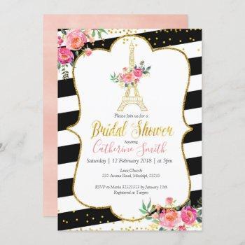 elegant black paris floral romantic bridal shower invitation