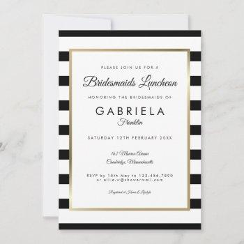 elegant black stripe gold bridesmaids luncheon invitation