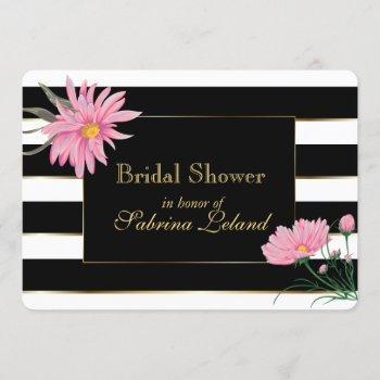 elegant black stripes pink floral bridal shower invitation