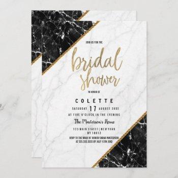 elegant black white gold marble bridal shower invitation