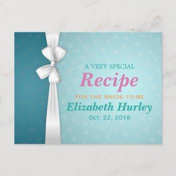 elegant blue and white ribbon bridal shower recipe invitation postcard