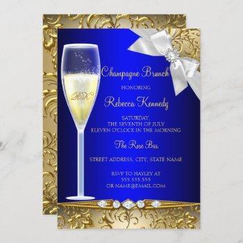 elegant blue gold white champagne brunch invite