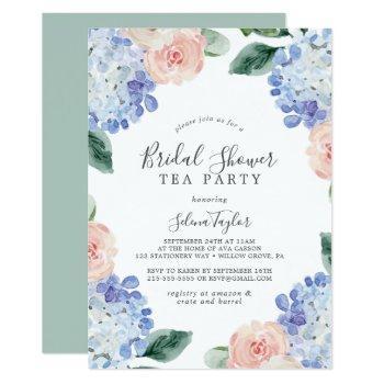 elegant blue hydrangea bridal shower tea party invitation