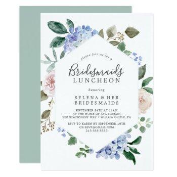 elegant blue hydrangea bridesmaids luncheon invitation