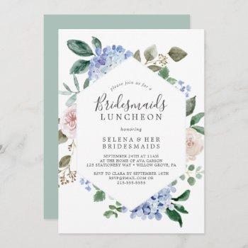 elegant blue hydrangea bridesmaids luncheon invitation