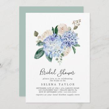 elegant blue hydrangea | white bridal shower invitation