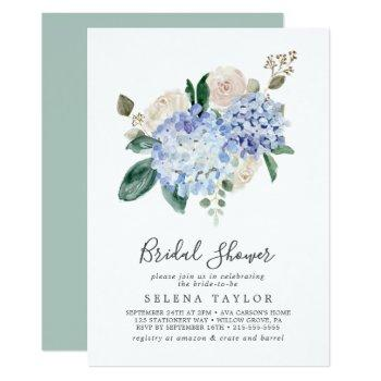 elegant blue hydrangea | white bridal shower invitation