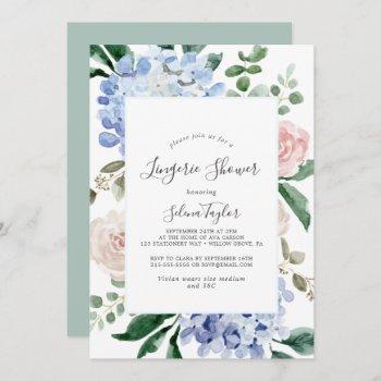elegant blue hydrangea | white lingerie shower invitation