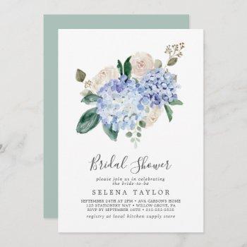elegant blue hydrangea with details bridal shower invitation