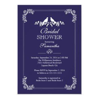 elegant blue love birds bridal shower invitation