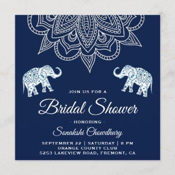 elegant blue mandala indian bridal shower invitation