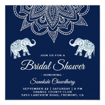 elegant blue mandala indian bridal shower invite