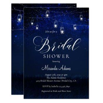 elegant blue starry night mason jar bridal shower invitation