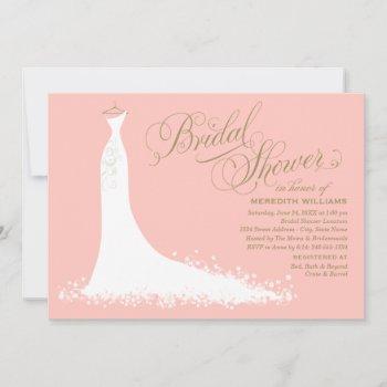 elegant blush and gold wedding gown bridal shower invitation