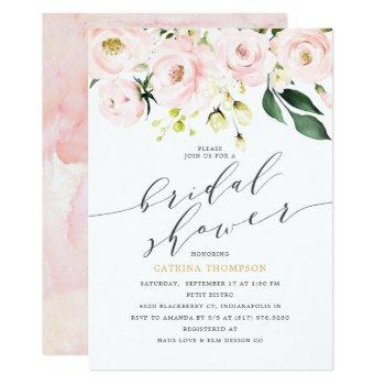 elegant  blush floral and eucalyptus bridal shower invitation