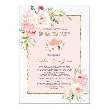elegant blush flowers gold frame bridal tea party invitation