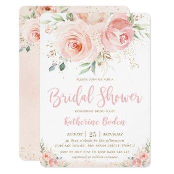 elegant blush pink floral gold girl bridal shower invitation