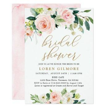 elegant blush watercolor floral bridal shower invitation