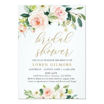 Elegant Blush Watercolor Floral Bridal Shower Invitation Front View