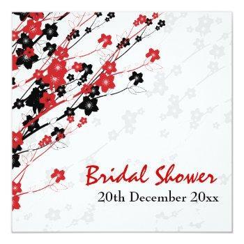 elegant bridal shower japanese flowers red invitation