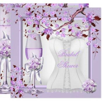 elegant bridal shower lavender purple lilac 4b invitation